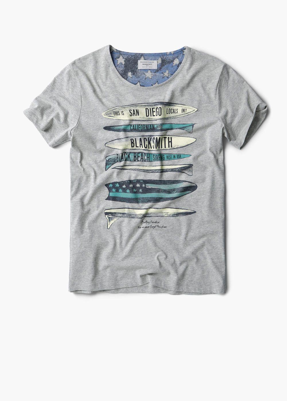 Bedrucktes Baumwoll T Shirt Herren Mango Man Deutschland Camiseta Masculina Camiseta Camisetas Para Meninos