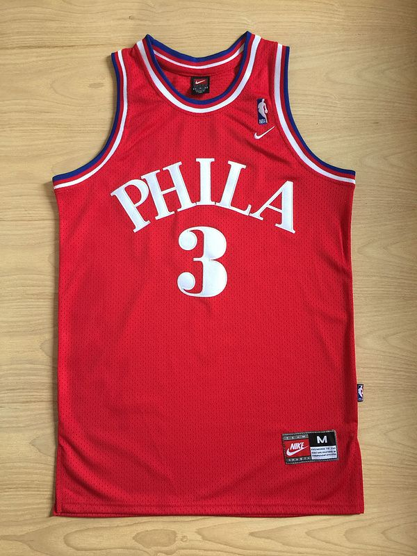 best service 2211b c9ec1 NBA Philadelphia 76ers Allen Iverson jersey red | Wholeasale ...