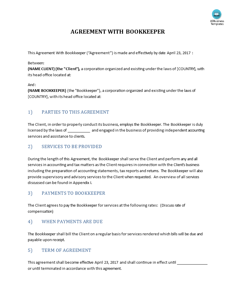 Agreement With Bookkeeper Download This Bookkeeping Template Between Client And Bookkeeper And After Downloading Bookkeeping Templates Bookkeeping Templates