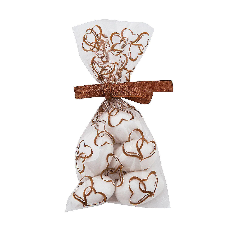 Mini Gold Two Hearts Cellophane Bags   Cellophane bags, Wedding ...