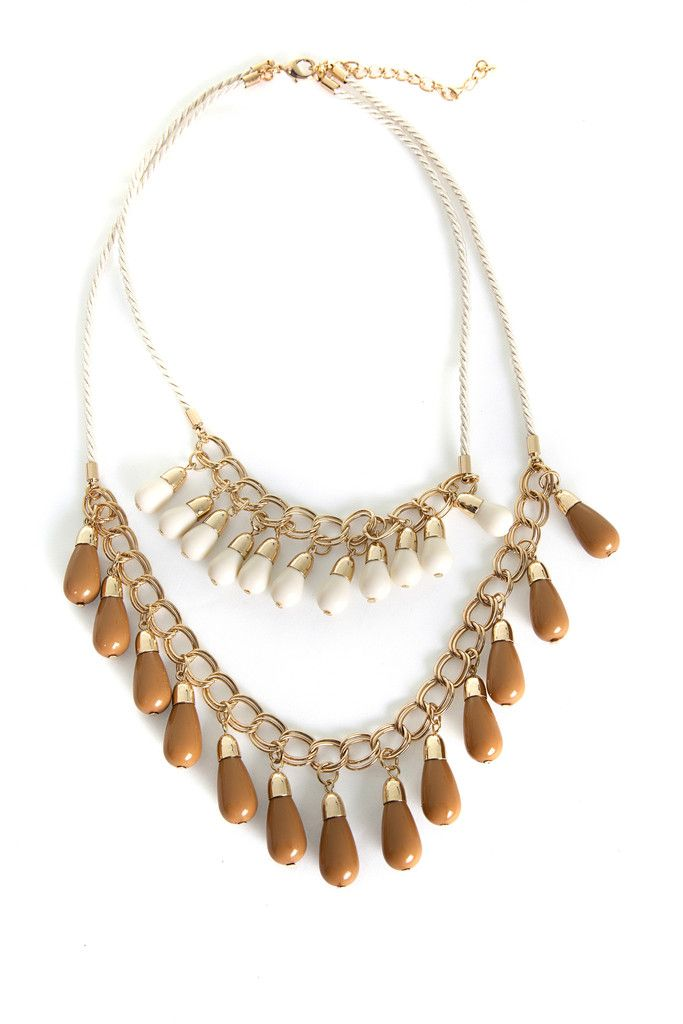 FS Necklace Double Layer Beaded Beige FamousStyle.com $24.00