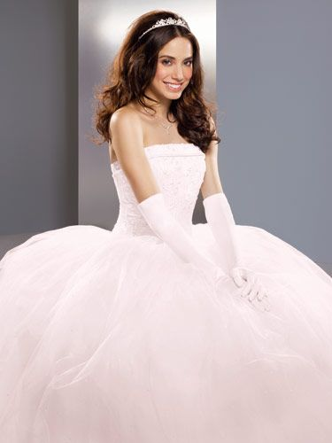 Strapless Tulle Ball Gown With Beaded Satin Bodice Wedding Dress