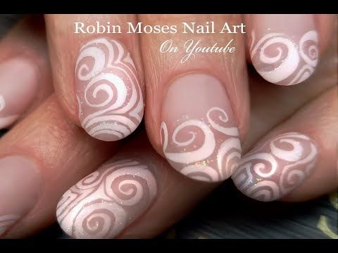 elegant diy white swirl hand painted nails  wedding