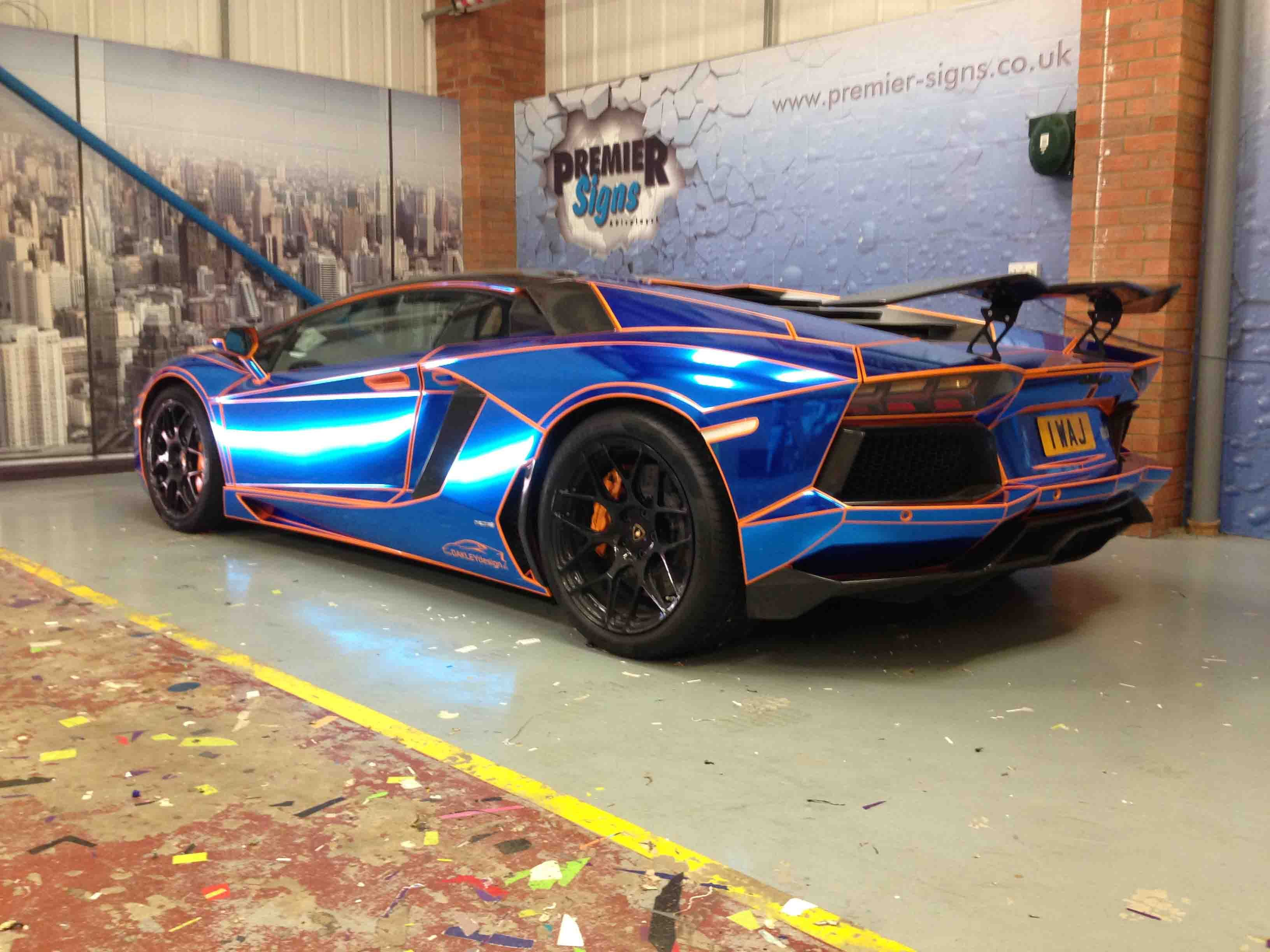lamborghini blue chrome - Lamborghini Aventador Blue Chrome