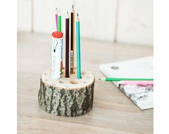 FREE SHIPPING. Wooden pencil holder– wooden pen holder for desk-storage-office desk organizer- Waldorf pencil holder– Montessori wooden gift