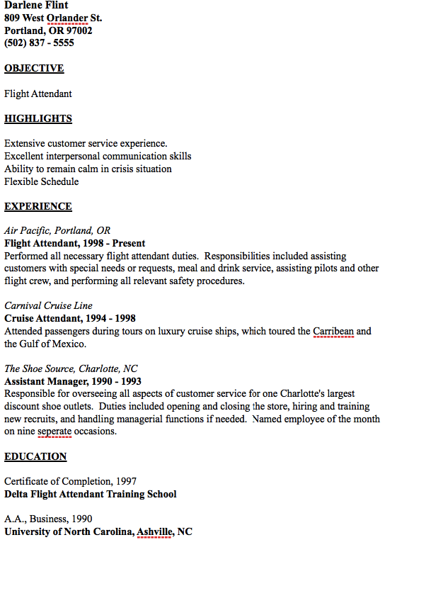 example of flight attendant resume
