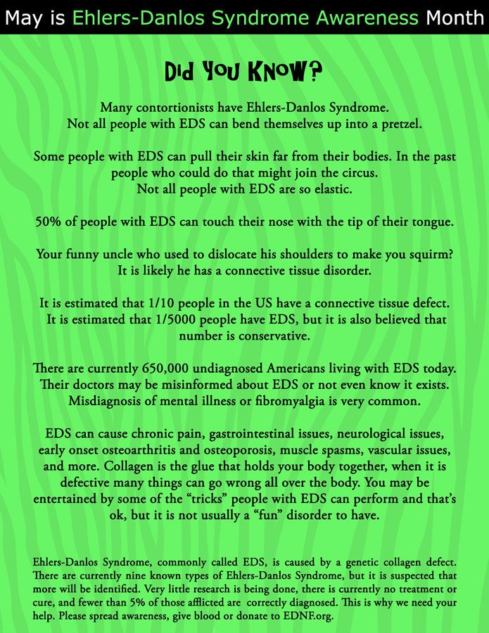 Fun Facts about EhlersDanlos Syndrome May is EDS