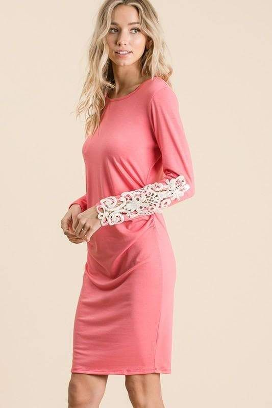 Bora's Solid High Quality Crochet Sleeve Ruched Dress – LARGE / CORAL