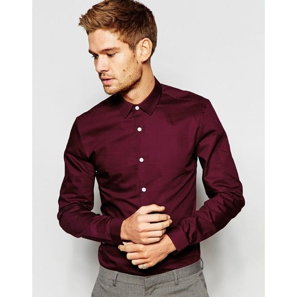 ASOS Smart Oxford Shirt In Burgundy With Long Sleeves ( 30) ❤ liked on  Polyvore featuring men s fashion 7e6e3732058