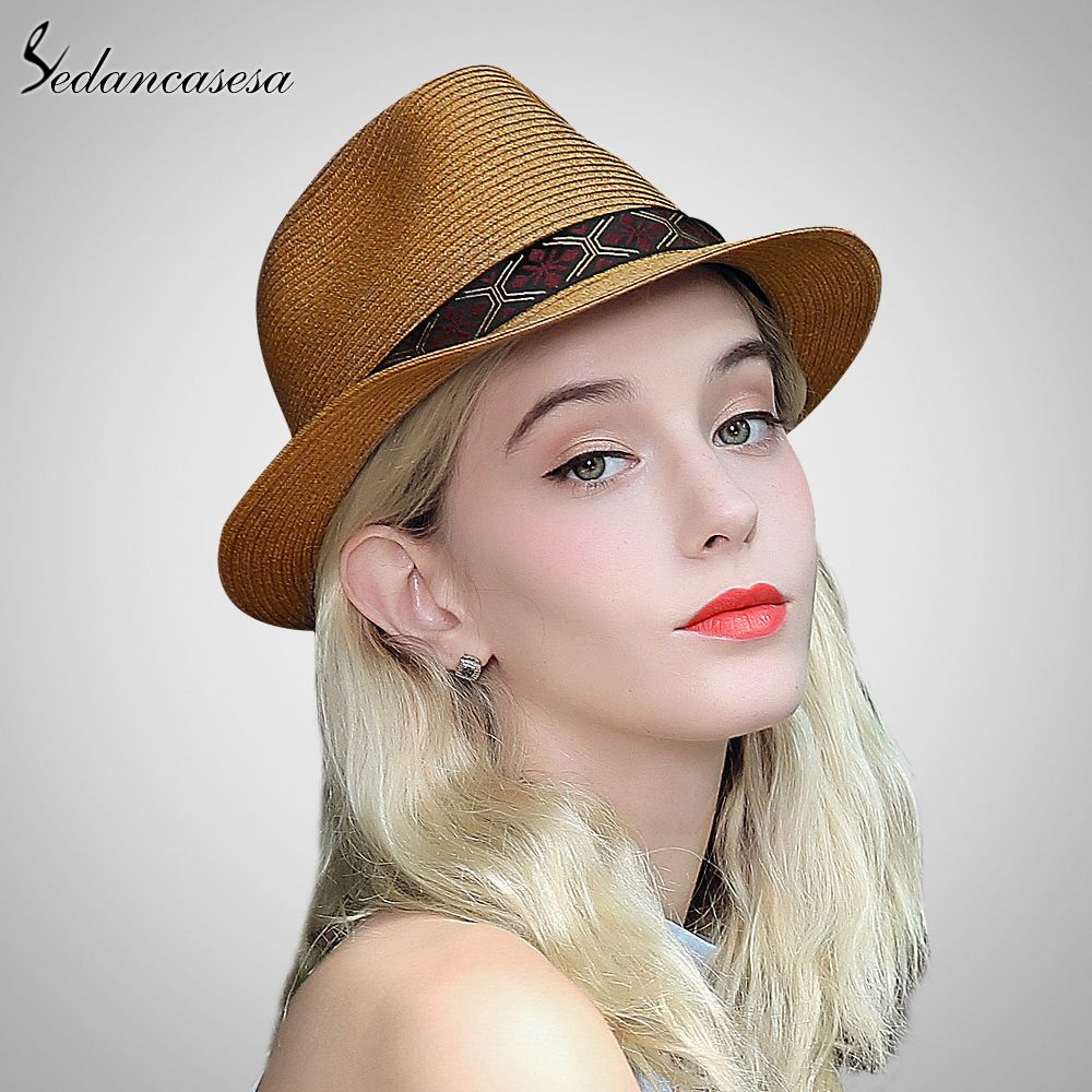 6e93982320f fedora Hats for woman men summer straw short brim hat beach UV sun hat  shopping holiday leisure jazz hat SM093008