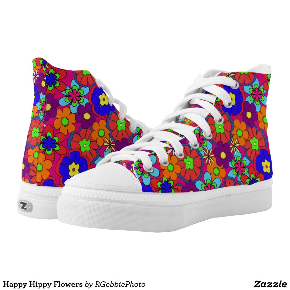 Happy Hippy Flowers High-Top Sneakers - $112.45 - Happy Hippy Flowers High-Top Sneakers - by #RGebbiePhoto @ #zazzle - #Flowers #Hippy #Retro - You'll be kickin with these! Bold, Colorful retro style flowers, hippy style in bright colors! Large petal flowers in a jumbled assortment. 70s Hippy look, great throwback item!