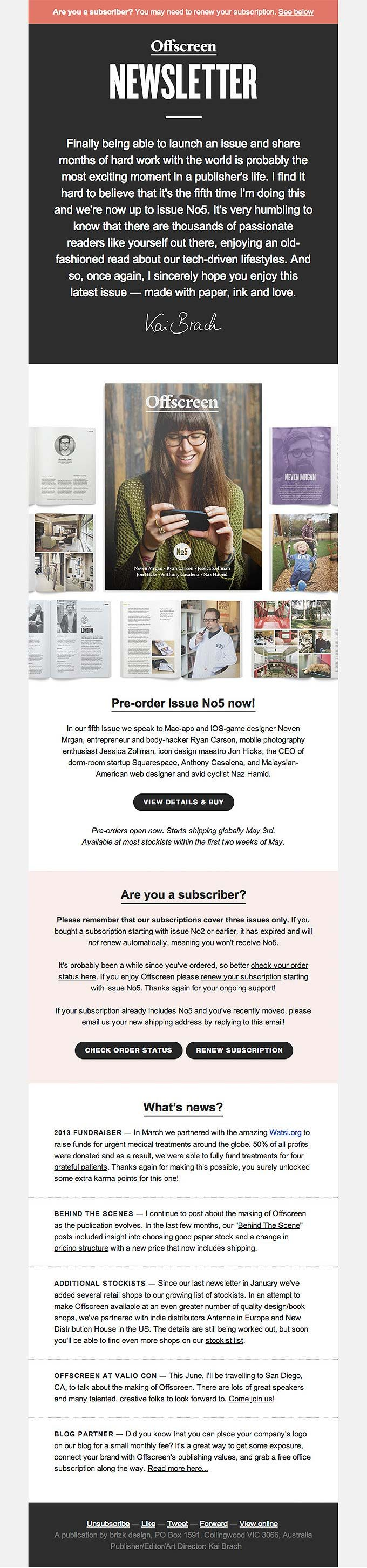 Product Update Email Design from Offscreen Magazine   Email ...