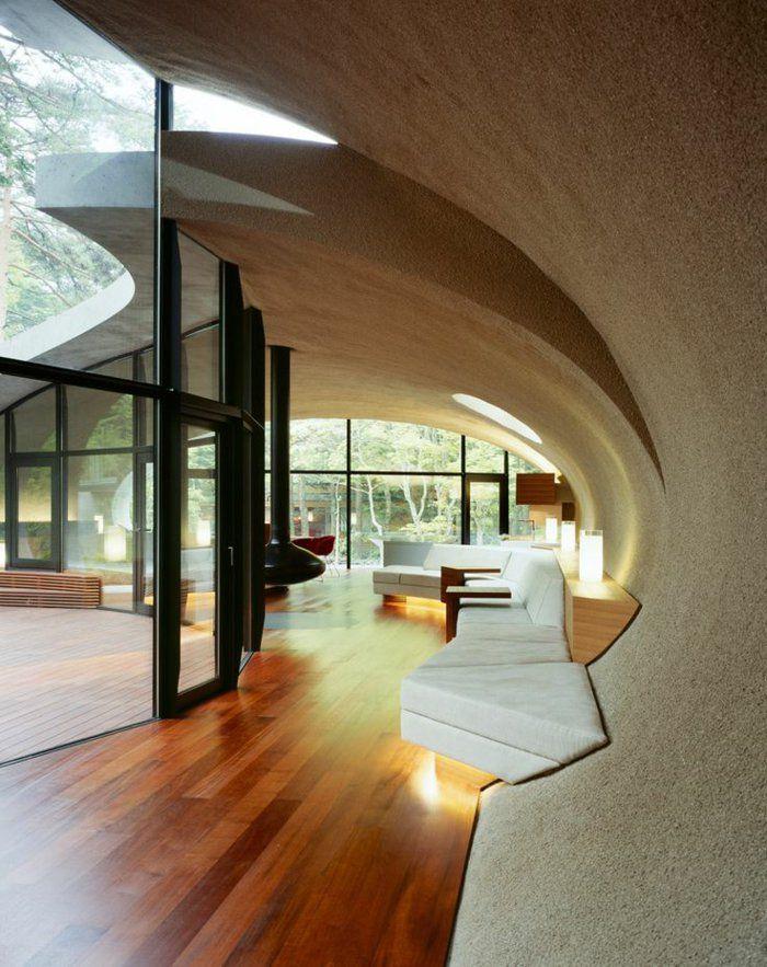 parquette en bois foncé, chambre sous pente, deco japonaise
