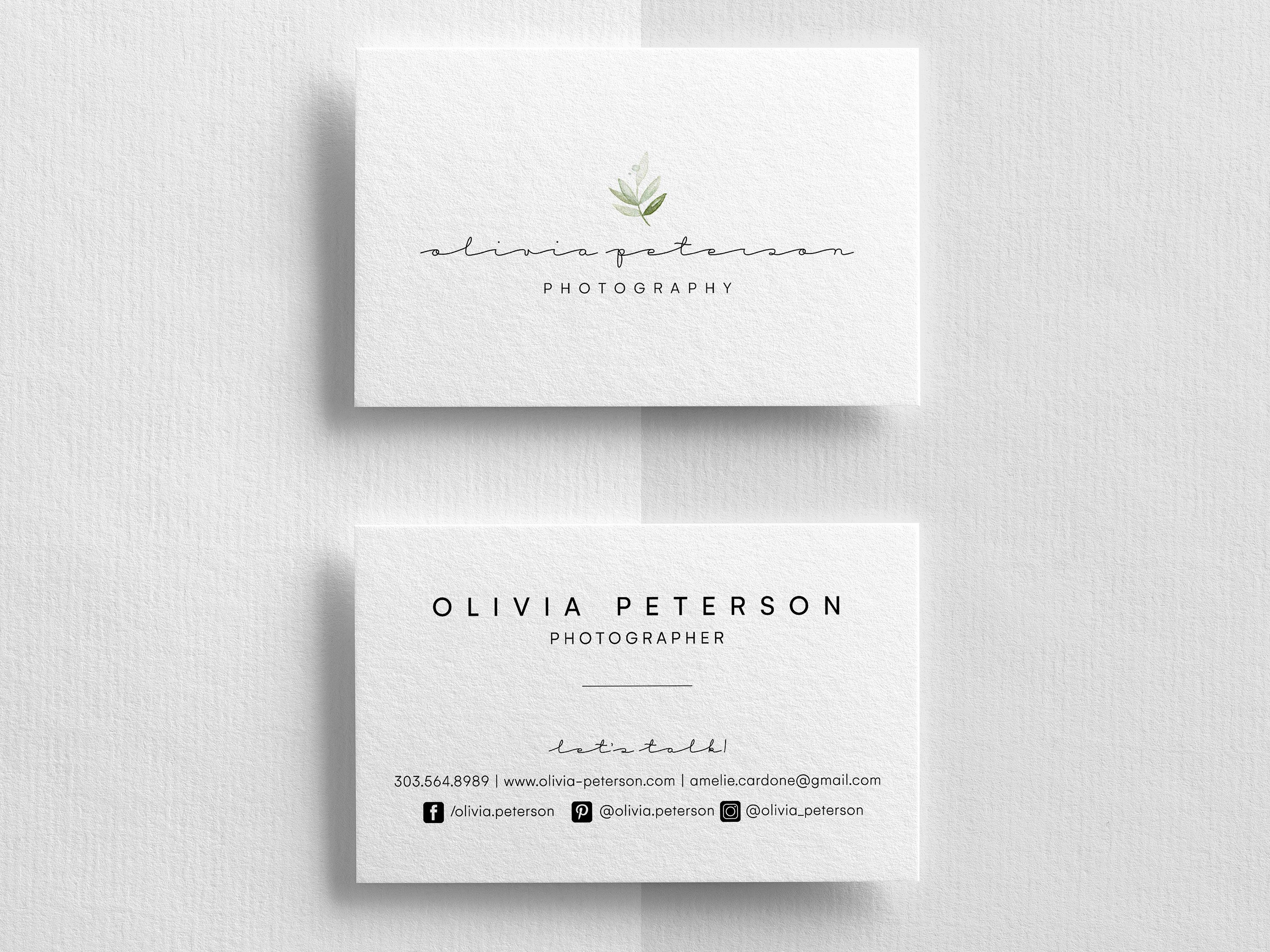 Business Cards Business Card Templates Editable Business Etsy Photography Business Cards Template Business Cards Watercolor Business Card Design
