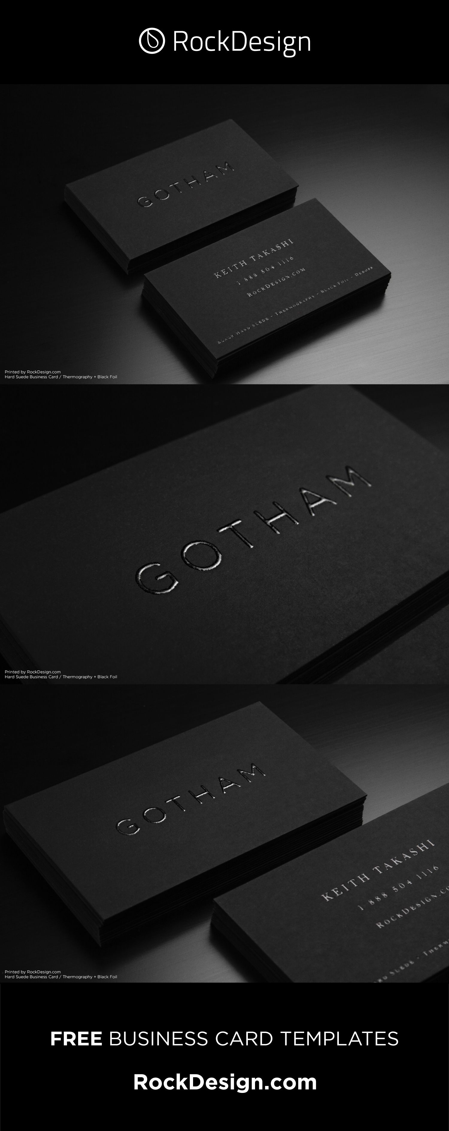 Minimalistic Black Suede Feeling Business Card With Thermography Gotham Business Card Design Minimalist Business Cards Creative Business Cards Layout