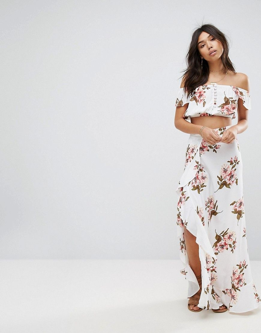 5746013eb Flynn Skye Floral Maxi Skirt Co-Ord With Ruffle And Side Split - Multi