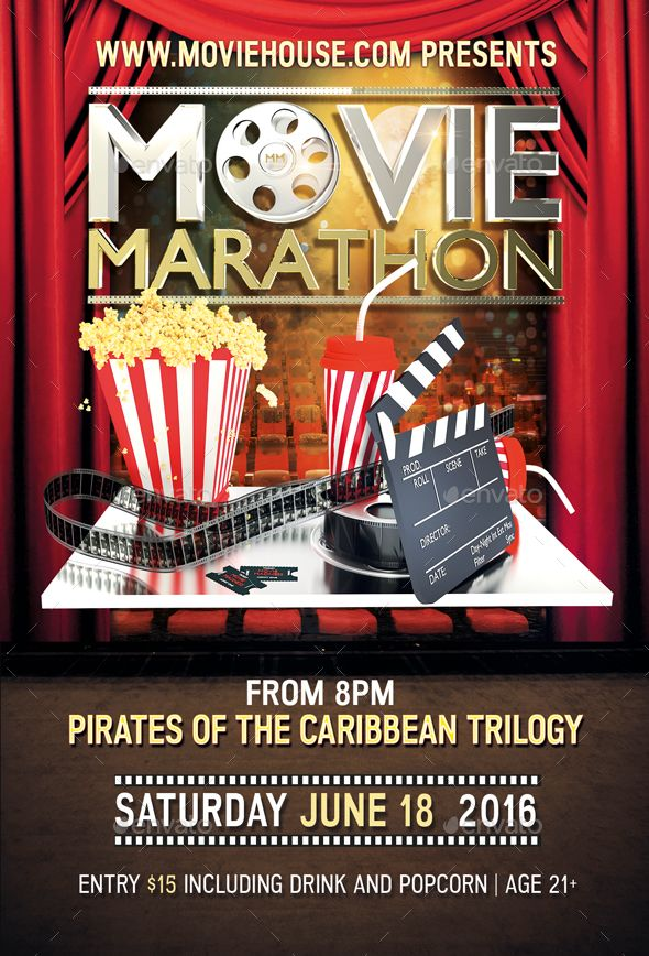 Movie Marathon Flyer | Movie marathon, Flyer template and Fonts