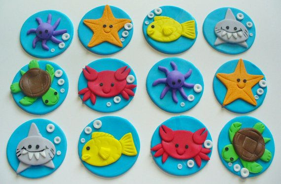 12 Under The Sea Life Edible Fondant Cupcake Toppers Birthday Baby