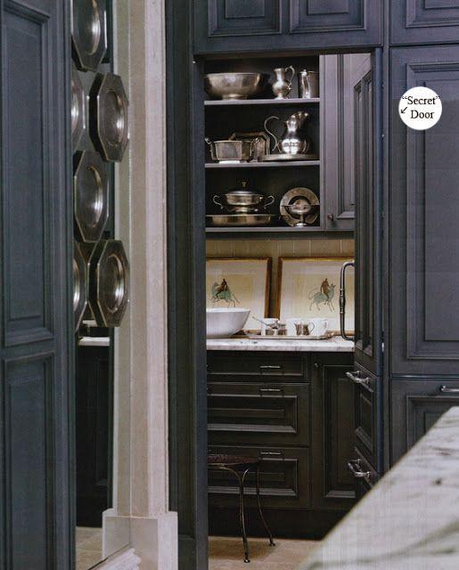 Secret door...  A rich dark charcoal, not quite black looks stunning in this kitchen.   ::)