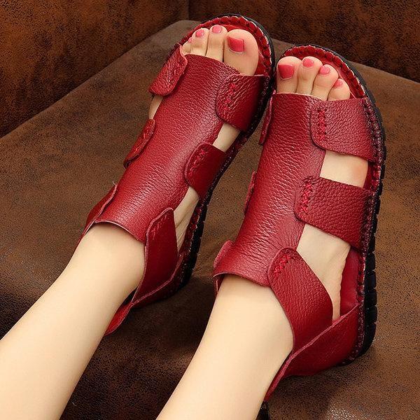 Genuine Leather Zipper Peep Toe Flat Sandals #redshoes