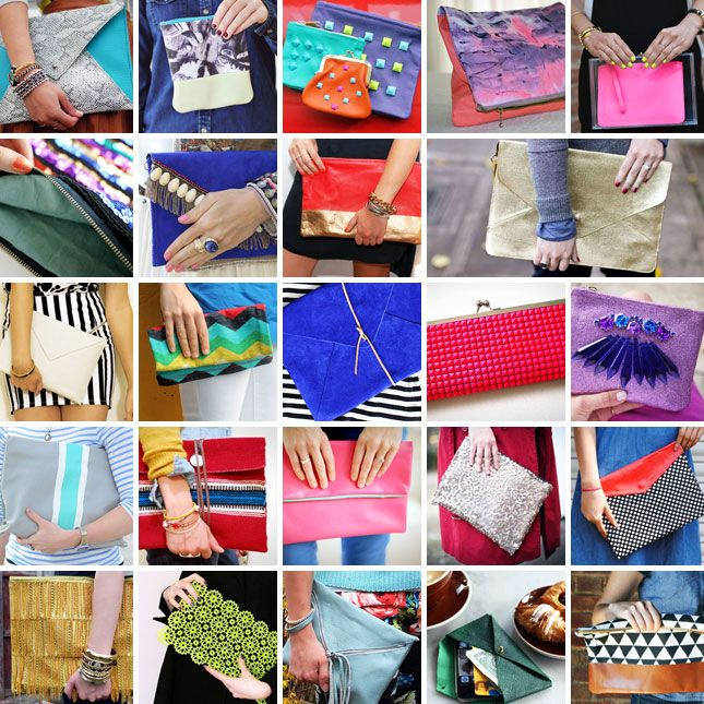 24 Chic DIY Clutches - pinning for the tote clutch & the last one on the list