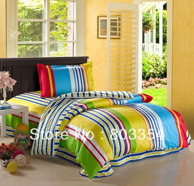 FREE Shipping! Colorful Striped Twin Kids Bedding For Boys