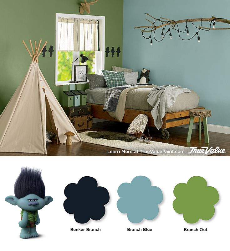 Make Branch's Woodland Rustic Boys Bedroom come to life with these EasyCare paint colors from True Value.