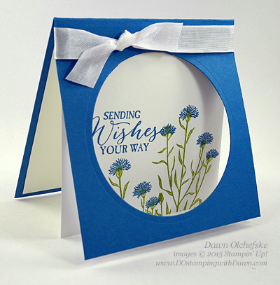 Simple Card With Punched Circle Frame layered over Stamped & Colored Image - I'm Wild About Flowers! #CAS #PaperPunch #Stash