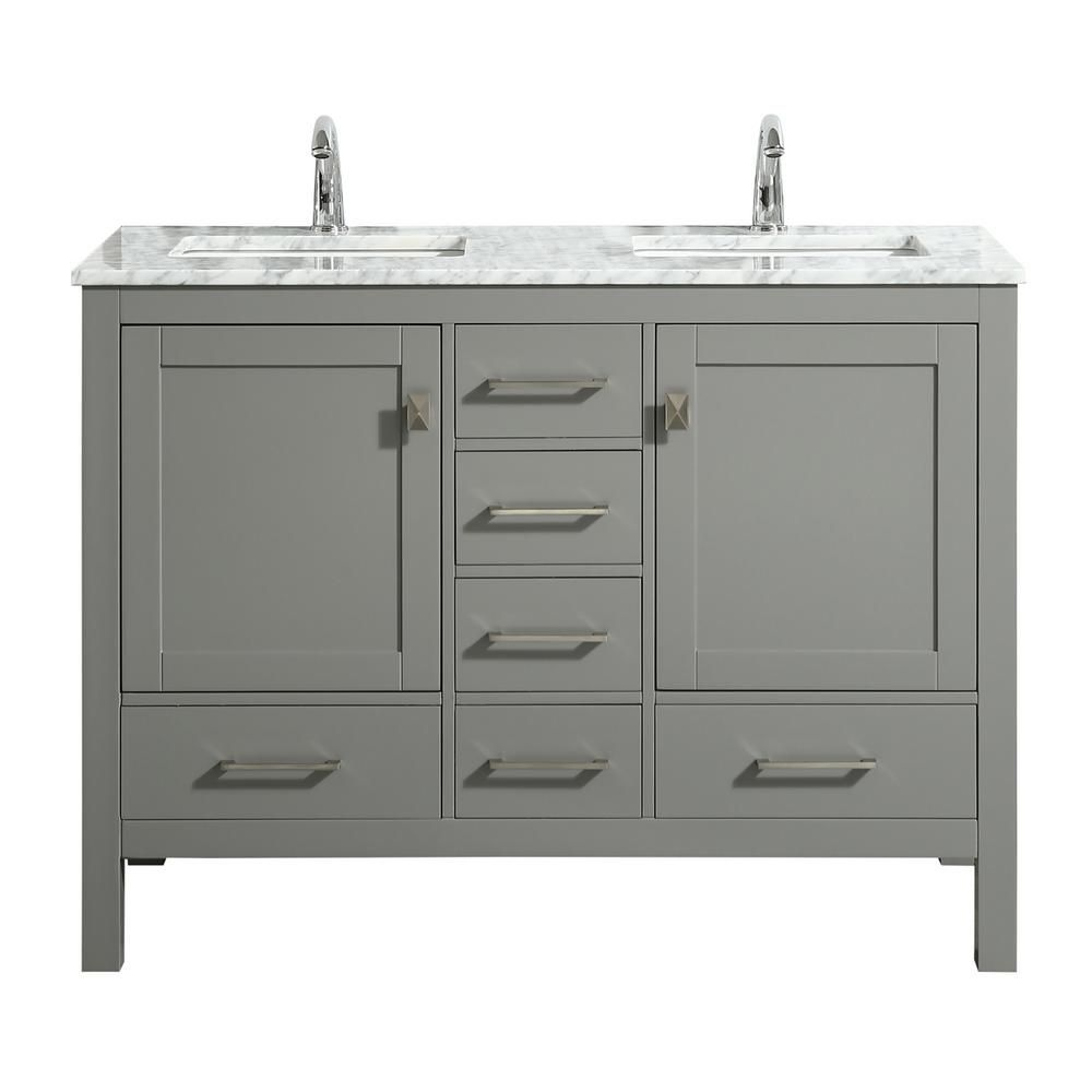 Eviva London 48 In X 18 In Transitional Gray Bathroom Vanity With White Carrara Marble And Double Porcelain Sinks Tvn414 48x18gr Ds The Home Depot Grey Bathroom Vanity Small Double Sink Vanity Double 48 x 18 bathroom vanity