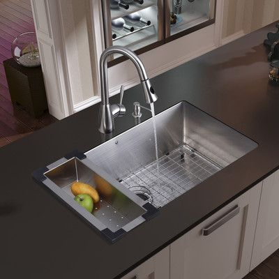 Undermount Single Bowl Kitchen Sink Pos Display System Vigo 32 Inch 16 Gauge Stainless Steel With Aylesbury Faucet Grid Strainer Colander And Soap