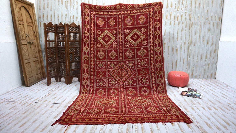 Red Vintage Moroccan Berber rug 6x11 Vintage Old Hand knotted Carpet