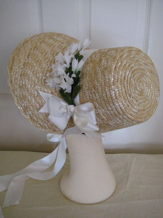 1800/'s-Civil War Style Round Back Straw Spoon Bonnet  Undecorated New