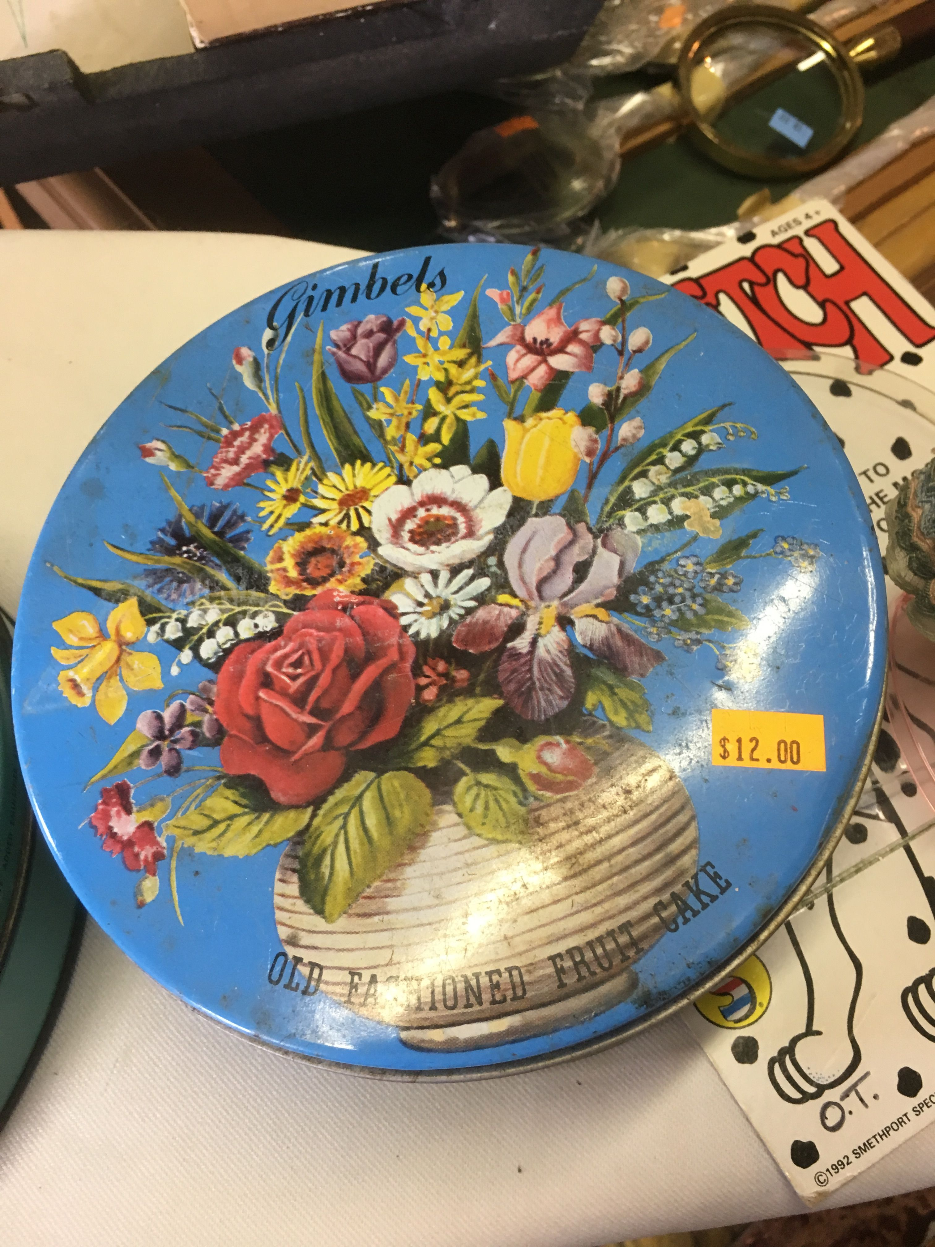 Gimbels fruitcake tin | Thrift shops | Pinterest
