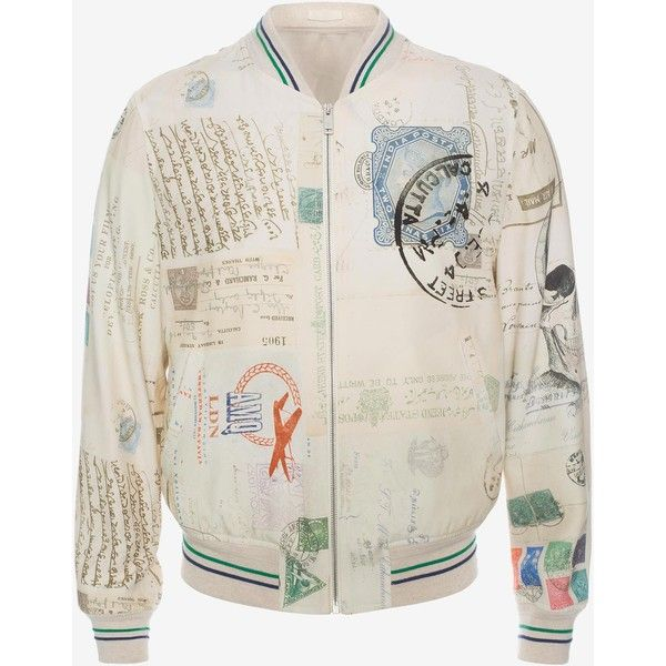 "Alexander McQueen ""letters From India"" Blouson ($1,895) ❤ liked on Polyvore featuring men's fashion, men's clothing, multicolor and alexander mcqueen"