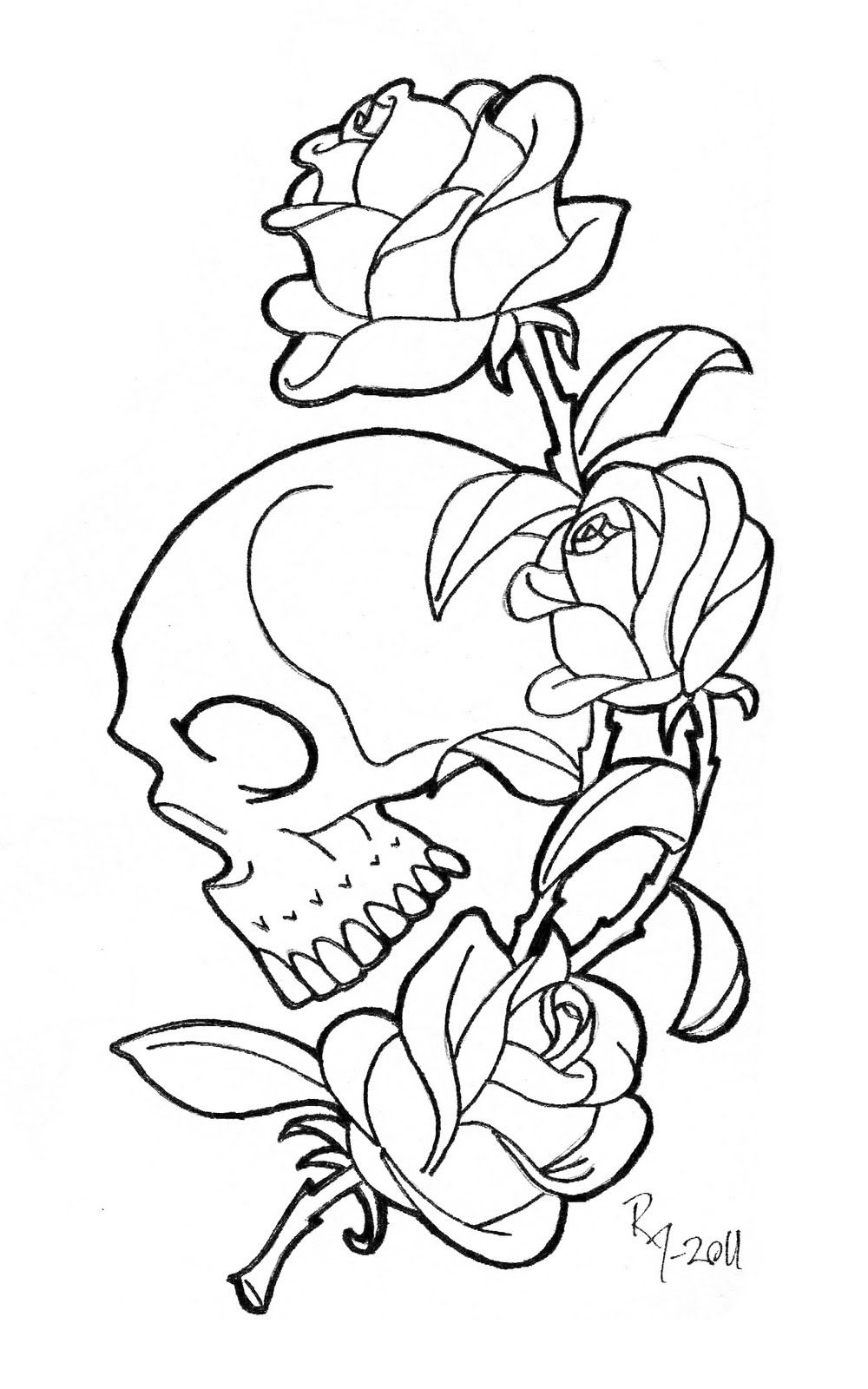Skull With Roses Coloring Pages Skull Coloring Pages Rose Coloring Pages Tattoo Coloring Book