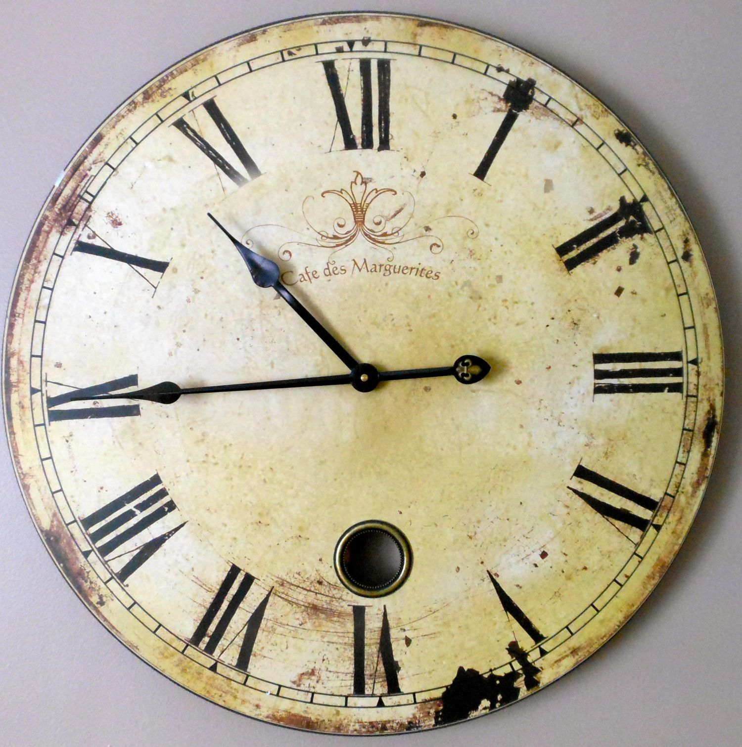 Distressed Wall Clock With A Great Shabby Chic Look