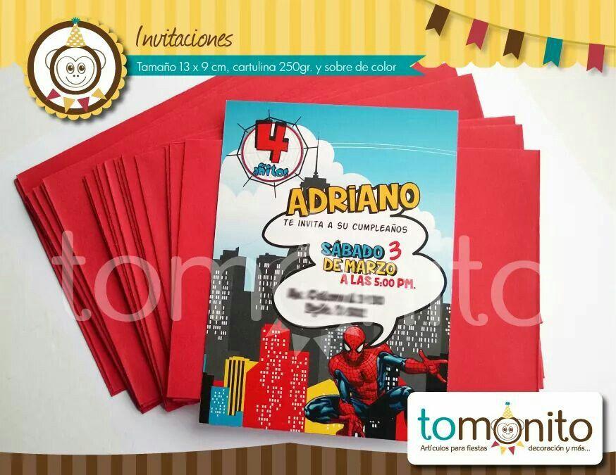 Tarjeta Invitación Spiderman Invitacion De Spiderman
