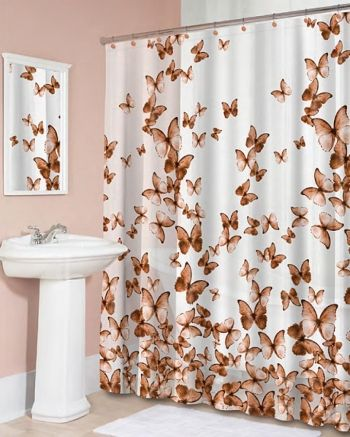 Splash Home Brown Light Flight Butterfly Peva Vinyl Shower Curtain
