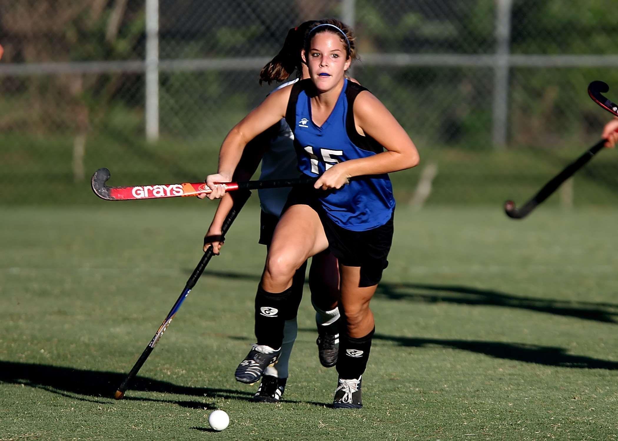 action athlete ball field hockey fun game girls