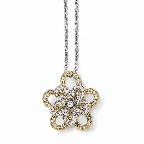 Brilliant Embers Gold-plated Sterling Silver CZ Flower Necklace