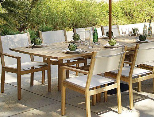 Conjunto de comedor para jardín en madera de teca y textilene ...