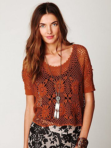 Free People FP New Romantics Bloom Crochet Top