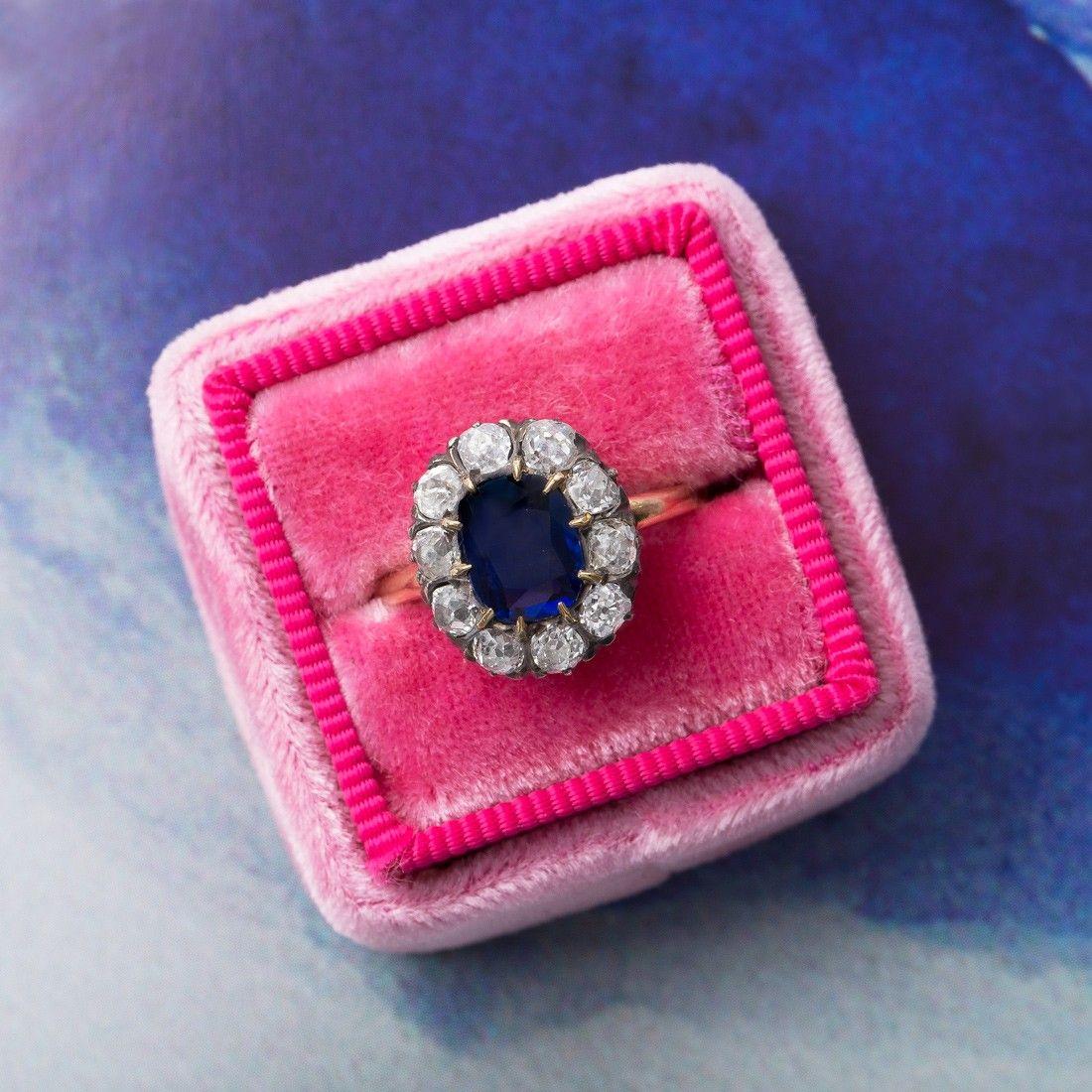Amazing vintage sapphire & diamond halo ring <3   Sapphire Love ...