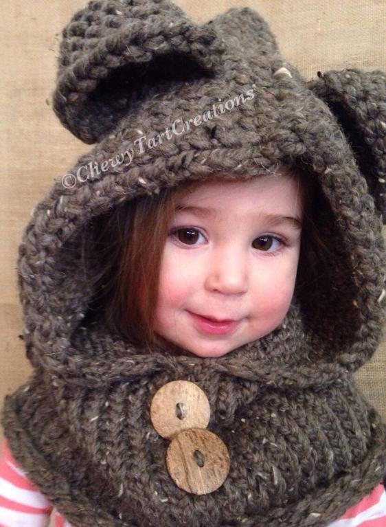 Cozy Bear hooded Cowl Loom Knit pattern | Hooded cowl, Knit patterns ...