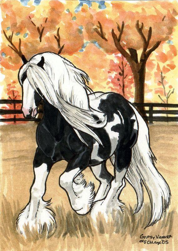 Gypsy Vanner in Autumn HORSE ART by giddyupstudio on Etsy