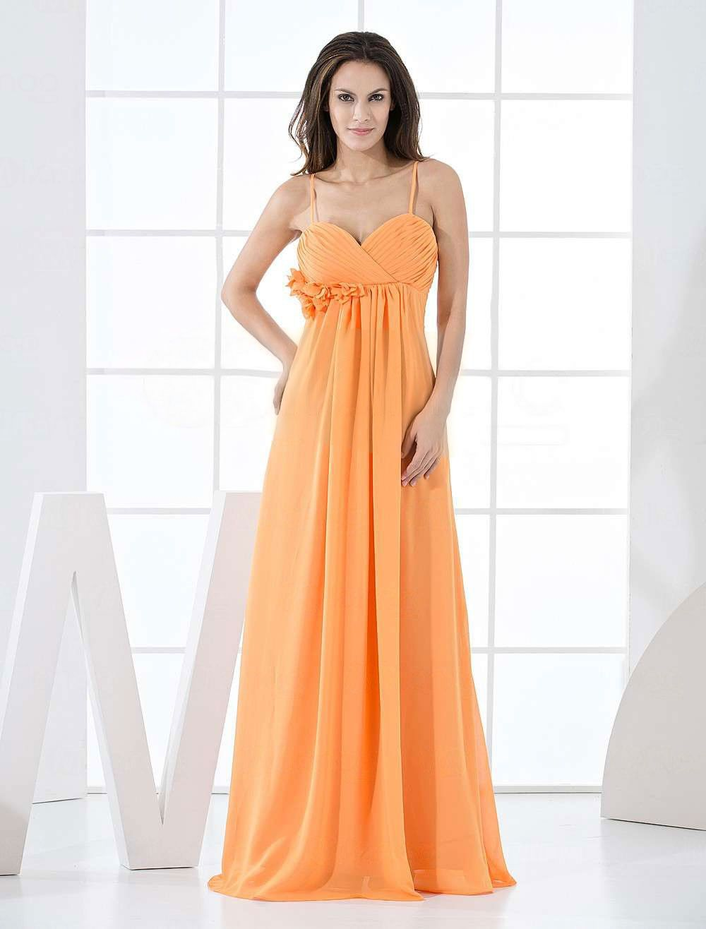 Orange chiffon aline floor length bridesmaid dress party dresses