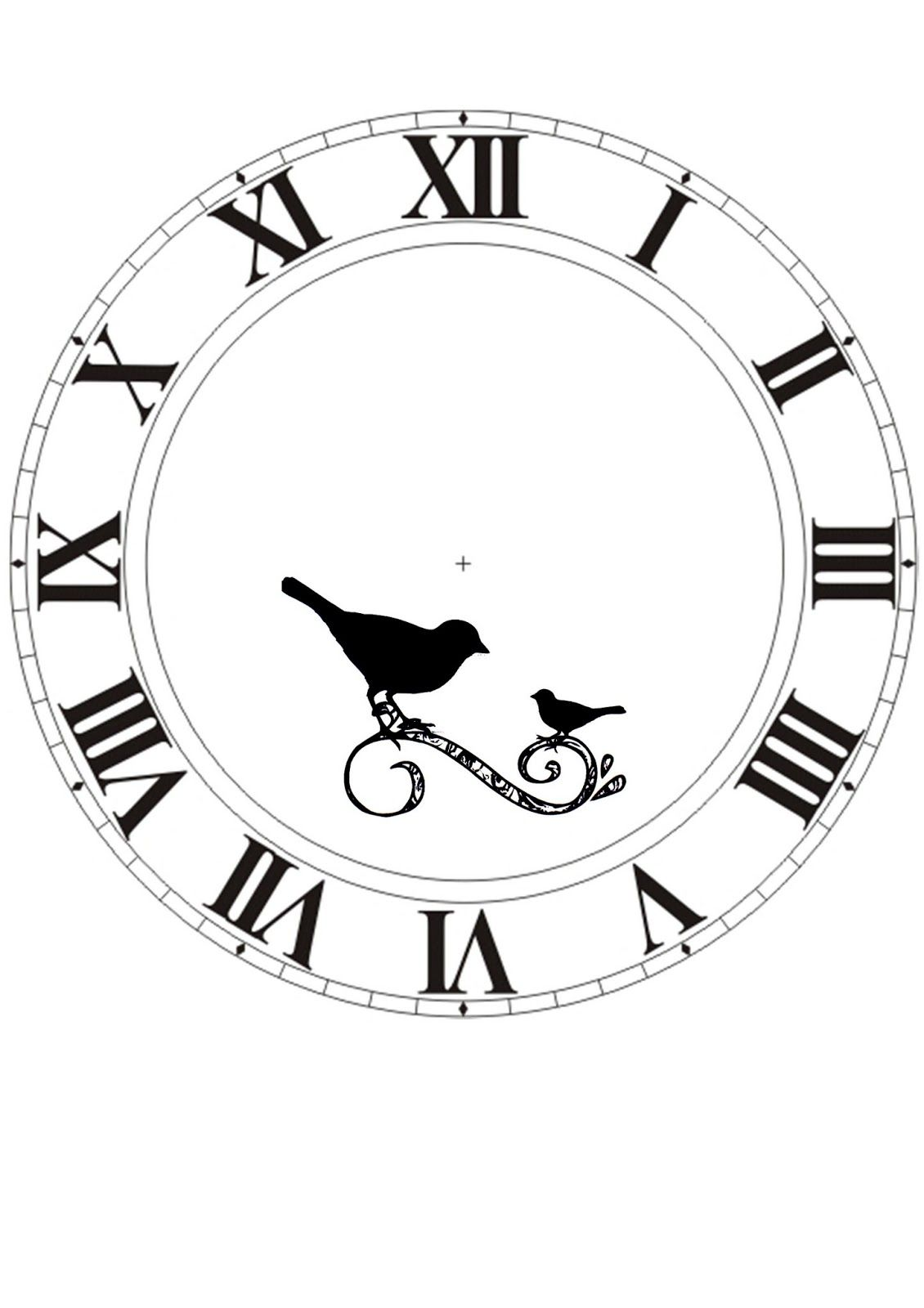 clock face printable with birds