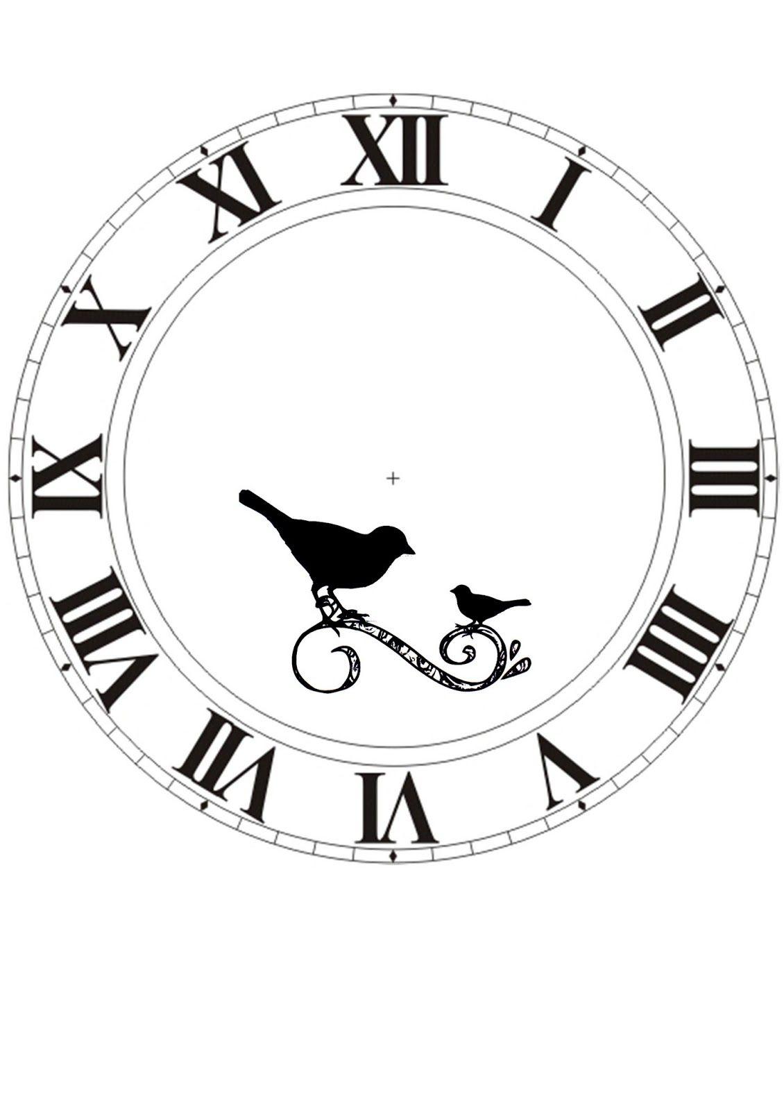 Clock Face Printable With Birds