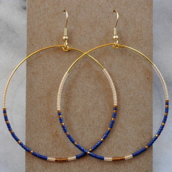 Photo of Beaded Hoop Earrings, Big Hoops, Big Earrings, Beaded Hoops, Best Gift For Her, Beaded Earrings, Gift for Girlfriend, Delicate, Libby & Smee