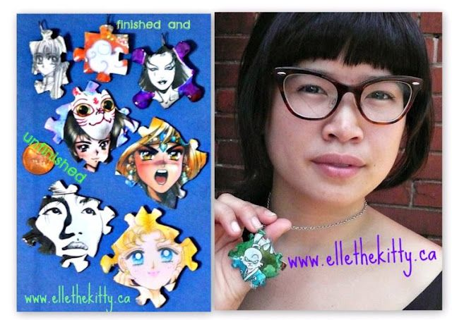 handmade one of a kind recycled media jewelry. Indie artist ellethekitty  www.ellethekitty.ca